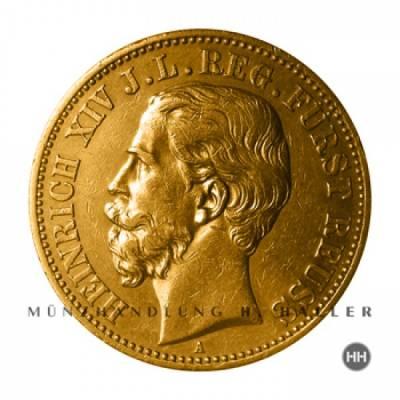 20 Reichsmark Gold Reuss jüngere Linie J.256 / 1881 ss./vz.