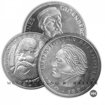 5 DM BRD Gedenkmünzen 1967 - 1979