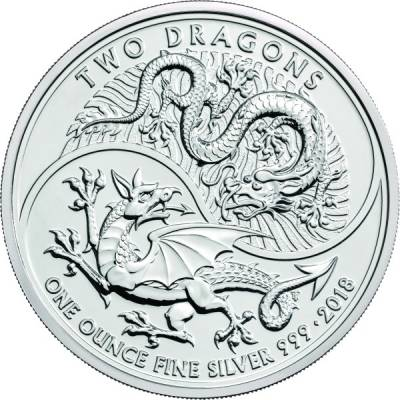 1 Oz. Silber Großbritanien Two Dragon 2018