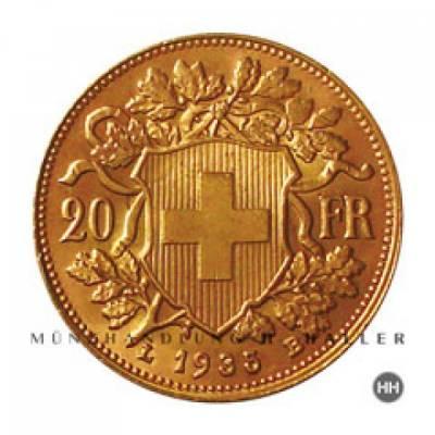 20 schweizer Franken Goldmünze Vreneli 1899 vz.