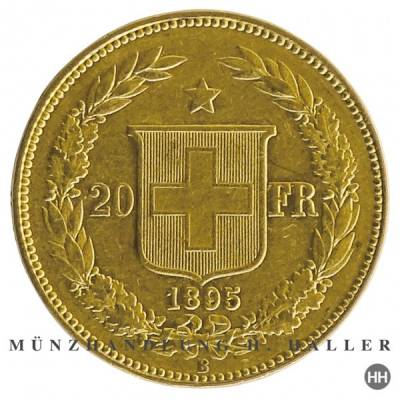 20 Schweizer Franken Goldmünze Helvetia 1896 vz.
