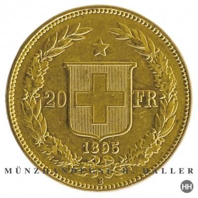 20 Schweizer Franken Goldmünze Helvetia 1892 vz./stgl.