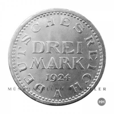 3 Reichsmark J.312 1924F vz./stgl.