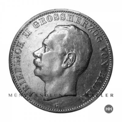 5 Reichsmark Baden J.40 / 1913 fast stgl.