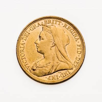 1 Pfund Goldmünze Sovereign Victoria Schleier 1896 vz.