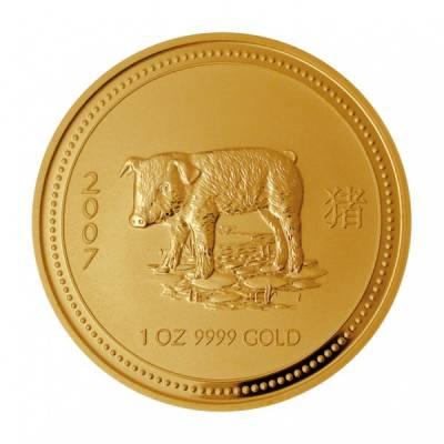 25 $ Australien Schwein 2007 / 1/4 Oz. Gold Lunar I.
