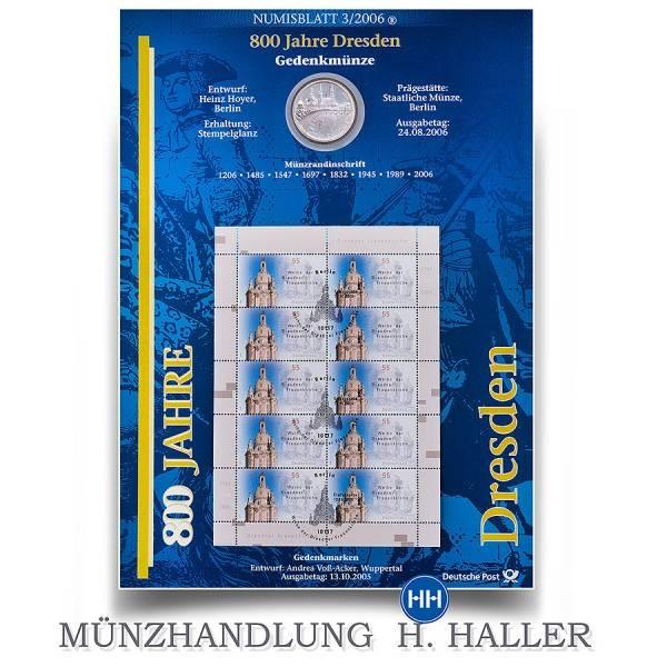 10 Numisblatt 032006 800 Jahre Dresden Sammlermünzen Und