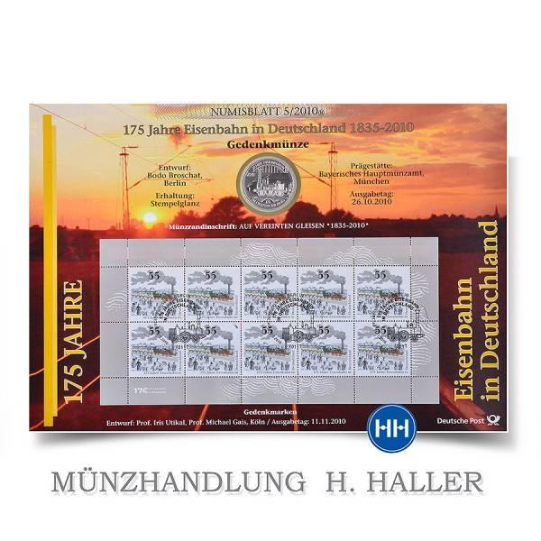 10 Numisblatt 052010 175 Jahre Eisenbahn In Deutschland
