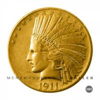 10 $ USA Gold Indian Head 1908 ss.