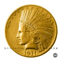 10 $ USA Gold Indian Head 1914 fast vz.